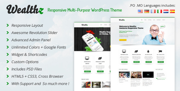 Wealthz Responsive Multi-Purpose WordPress Theme