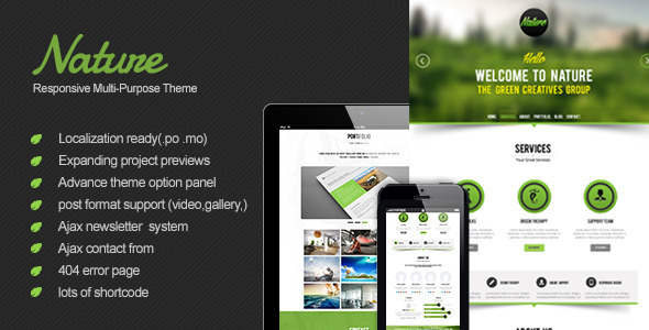 Nature – Responsive Onepage WordPress Theme
