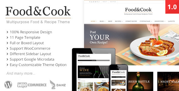 Food & Cook – Multipurpose Food Recipe WP Theme