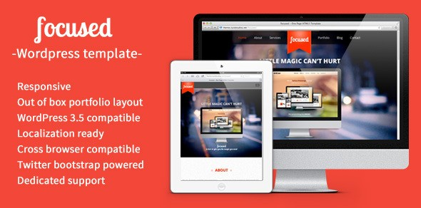 focused – One Page HTML5 Responsive WordPress Them