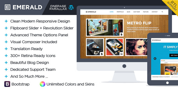 Emerald – Responsive Onepage WordPress Theme