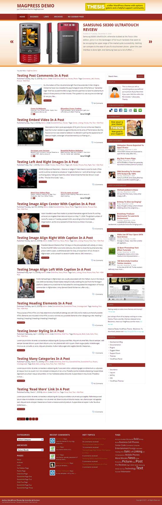 Activa  WordPress Theme Free Download
