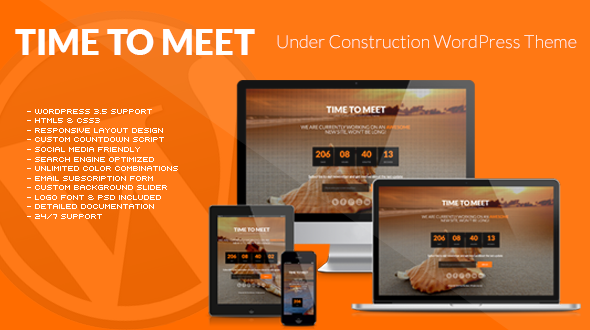 Time to Meet – Responsive Under Construction WordPress Theme