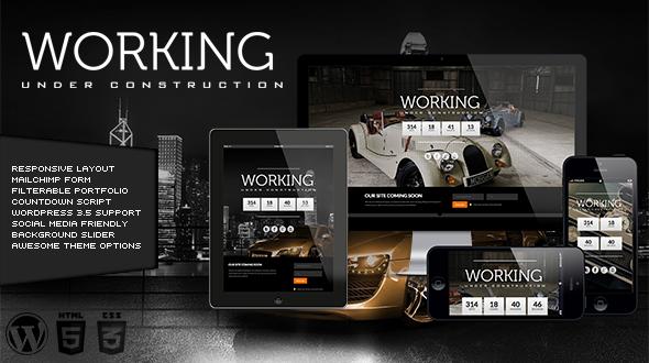Working – Responsive Under Construction WordPress Theme