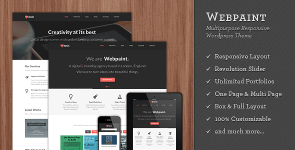 Webpaint – 2 in 1 Responsive WordPress Theme