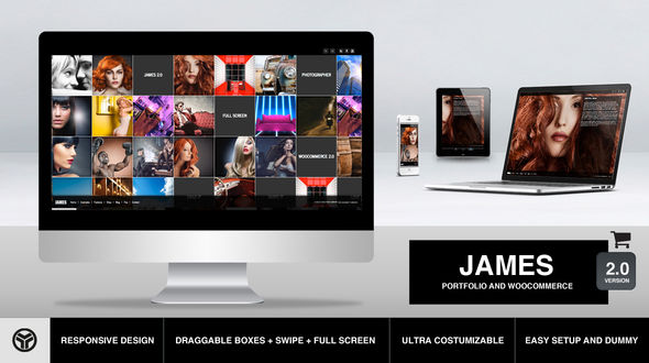 James 2.0 – Responsive Full Screen Portfolio Woocommerce Theme
