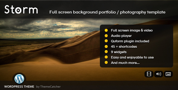 Storm WordPress – Full Screen Background Theme