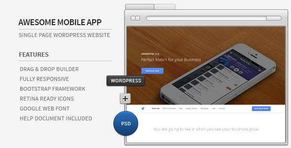 Awesome App – Responsive Parallax WordPress Showcase