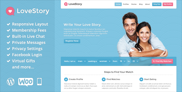 LoveStory – Dating WordPress Theme