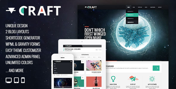 Craft – Responsive & Retina Ready WordPress Theme