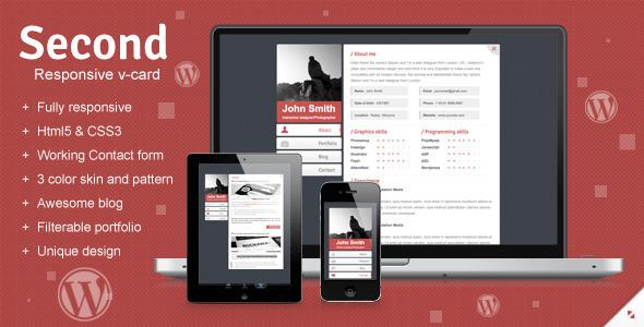 Second Responsive WordPress V-card