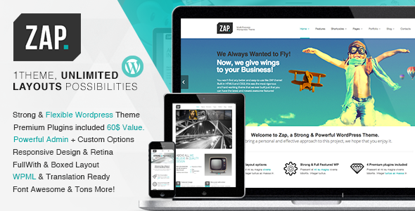 ZAP – Responsive Multi-Purpose WordPress Theme