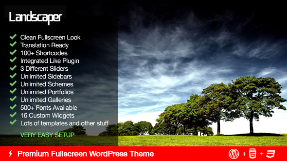 Landscaper – Fullscreen Business WordPress Theme