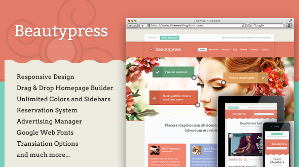BeautyPress – Responsive Beauty and Spa WordPress Theme
