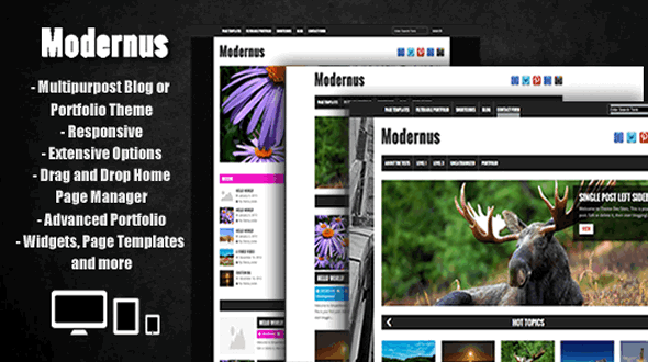 Modernus – MultiPurpose Blog/Portfolio with Advanced Portfolio