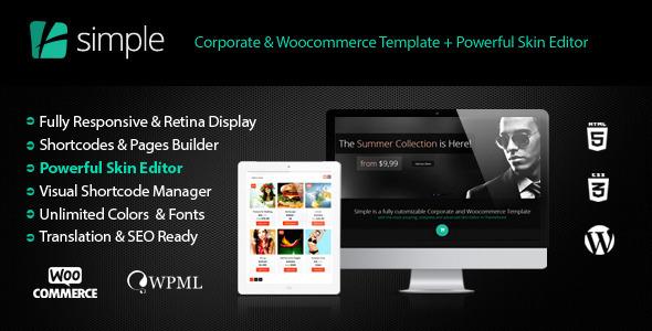 Simple   Woocommerce Corporate + Skin Editor Pro