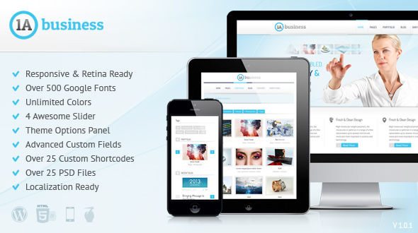 1A Business – Responsive WordPress Theme