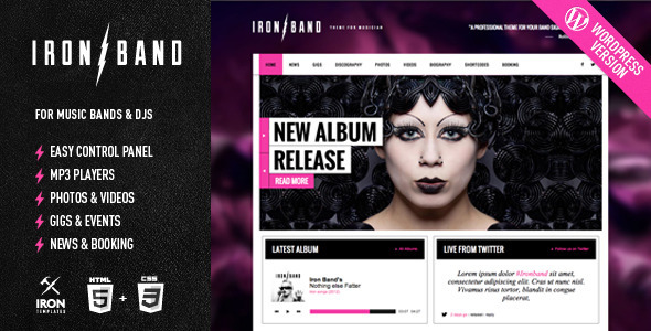 IronBand – Responsive Music & DJ WordPress Theme