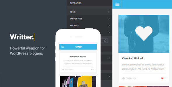 Writter – A Modern Grid Based Mobile Theme