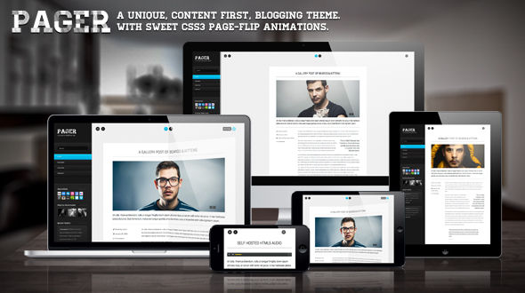 Pager – A Page Flipping Blogging WP Theme