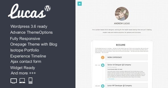 Lucas – Resume \ Blog \ Portfolio \ WordPress