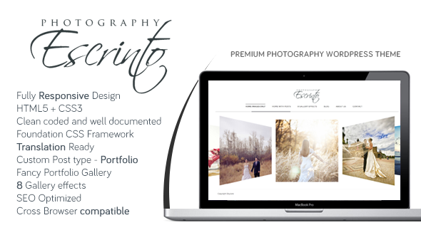 Escrinto Photography WordPress Theme