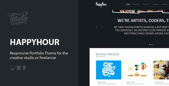 InHappyHour: Responsive Portfolio WordPress Theme