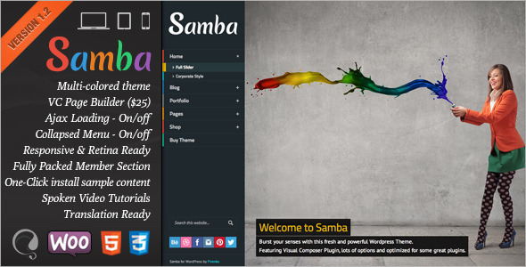 Samba – Colored WordPress Theme