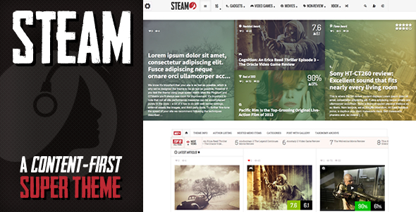 Steam – Responsive Retina Review Magazine Theme