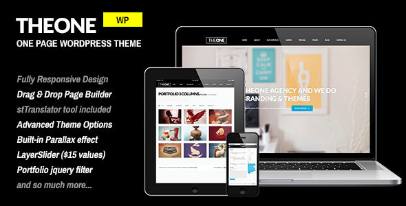 TheOne – Responsive WP One Page Parallax
