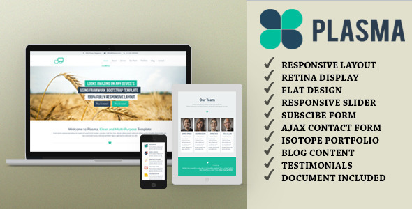 Plasma – One Page Multi-Purpose WordPress Theme