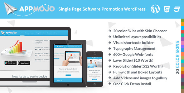 App Mojo – Single Page Software Promotion Theme