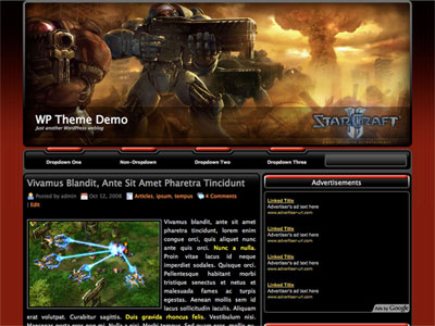 StarCraft II News WordPress Theme