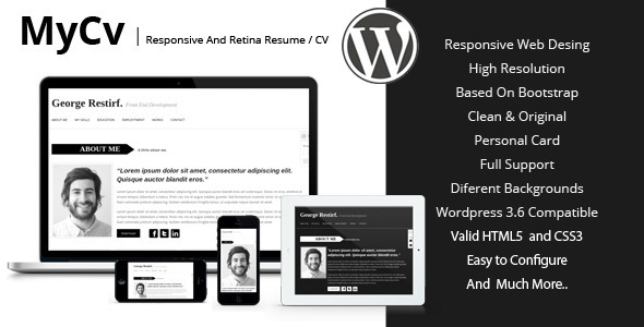 My Cv – Responsive And Retina WordPress theme / CV