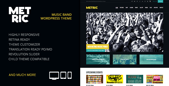 Metric: Music Band Responsive WordPress Theme