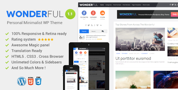 Wonderful Personal Minimalist WordPress Blog Theme