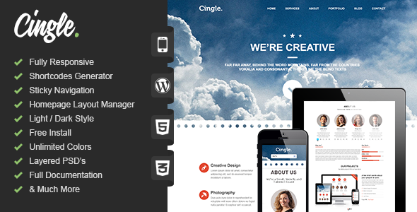 Cingle | Responsive One Page WordPress Theme