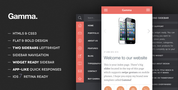 Gamma – Mobile Retina | HTML5 and CSS3 WordPress