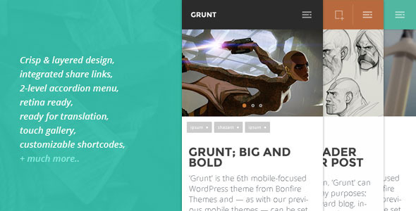 GRUNT – A Big & Bold WP Theme for Mobiles