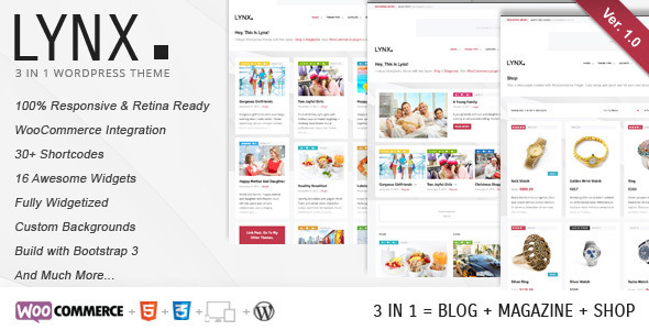 Lynx 3 in 1 – Retina Responsive WordPress Theme