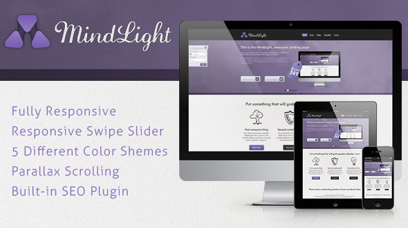 MindLight WordPress Theme – Landing Page