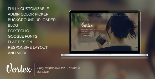 Vortex – One Page Parallax Flat WordPress Theme