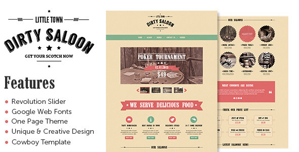 Dirty Saloon – A Rugged One Page WordPress Theme