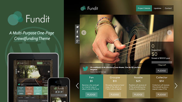 Fundit – Responsive Single Page WordPress Crowdfunding Theme