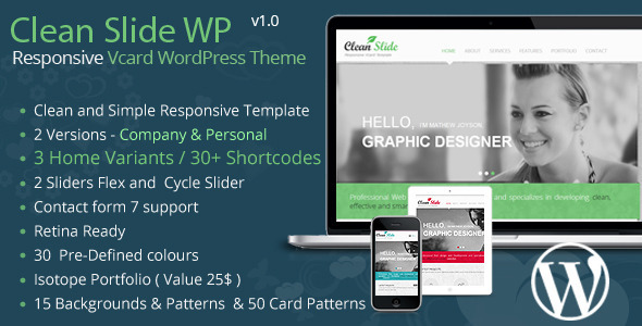 Clean Slide Responsive vCard WordPress Theme