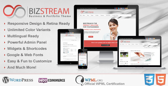 Bizstream – Multi Purpose HTML5/CSS3 WP Theme