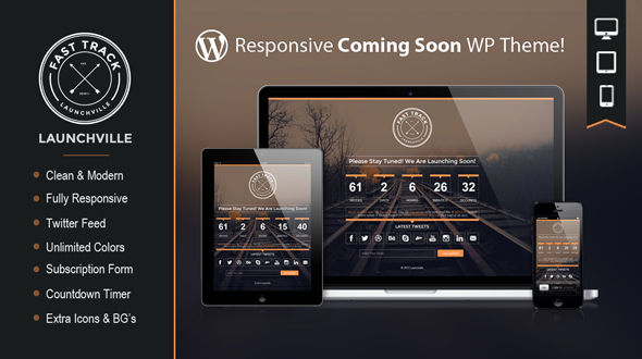 Launchville – Responsive Coming Soon WordPress Theme