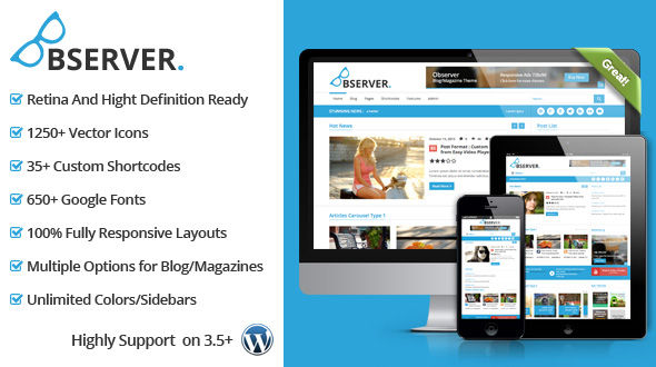 Observer Blog/Magazine WordPress Theme