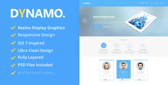 Dynamo – Retina Onepage WordPress Theme