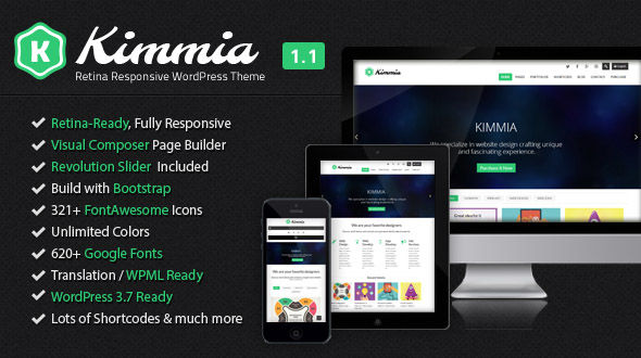 Kimmia – Retina Responsive WordPress Theme